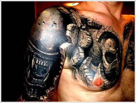 Biomechanical tattoo design (7)
