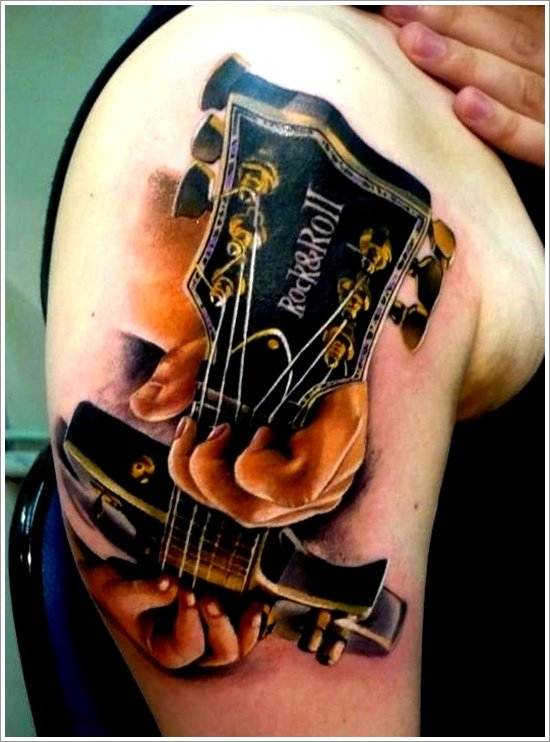 25 creative guitar tattoo designs. Black Bedroom Furniture Sets. Home Design Ideas