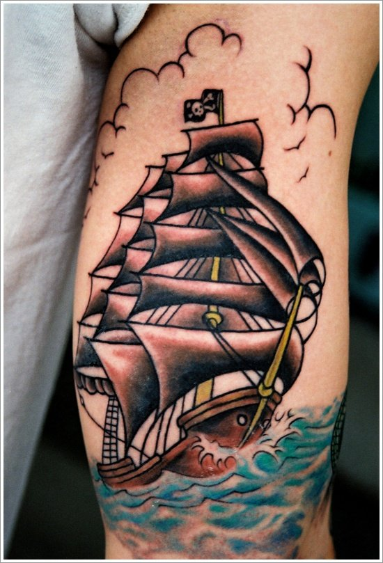 35 Regal Ship based tattoo designsOld School Battleship Tattoos