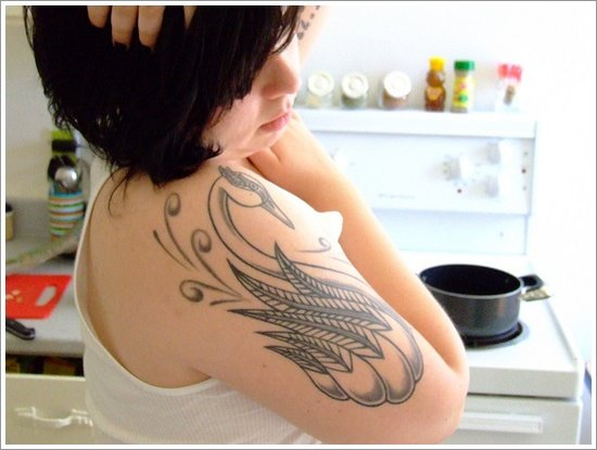 Dazzling And Eye Catching Swan Tattoo Designs