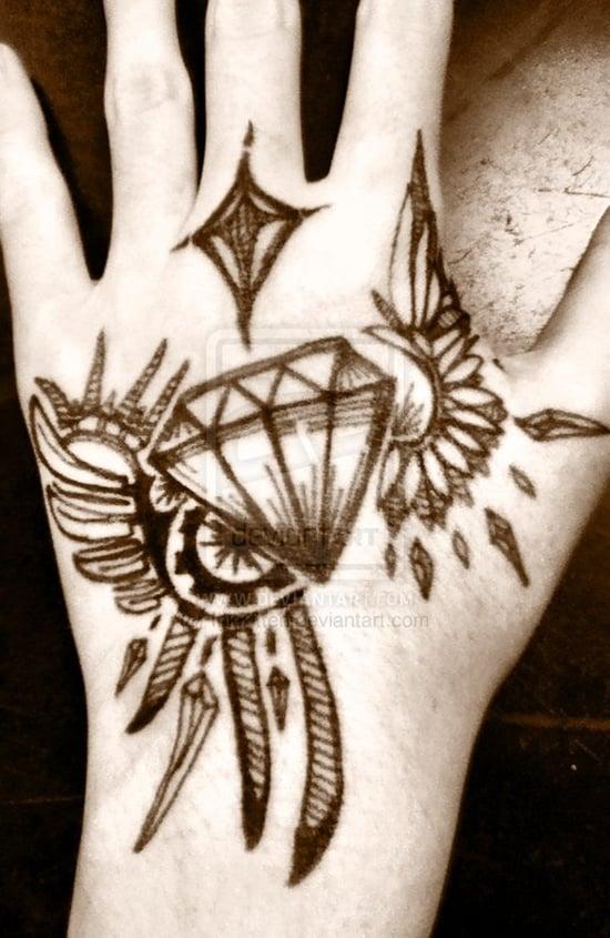 29 Sparkling Diamond Tattoo Designs