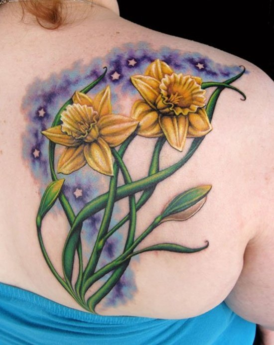 30 Lovely And Peaceful Daffodil Tattoo Designs