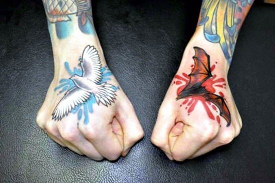 30 cool bat tattoo designs for men and women for Dove and hands tattoo
