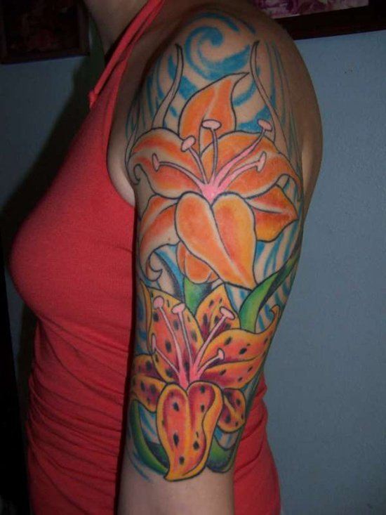 25 amazing tiger lily tattoo designs. Black Bedroom Furniture Sets. Home Design Ideas