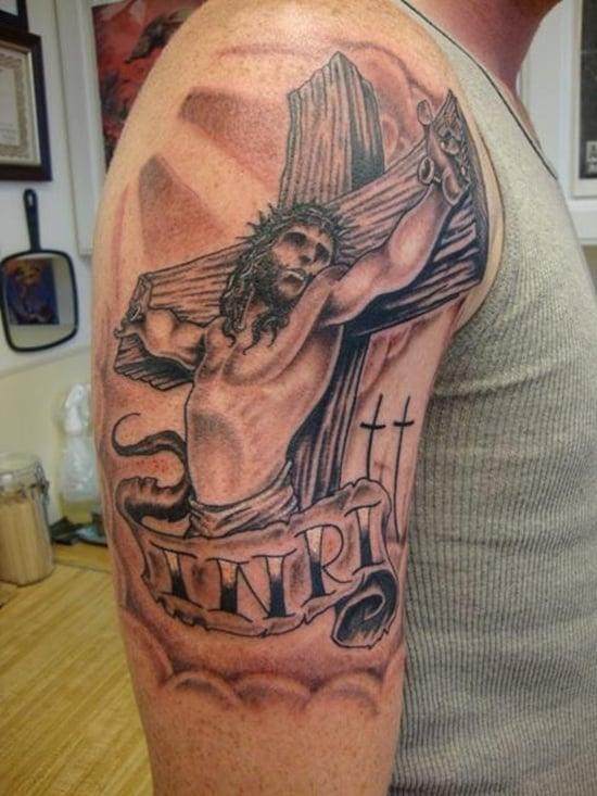 25 Crucifix Tattoo Designs For Men