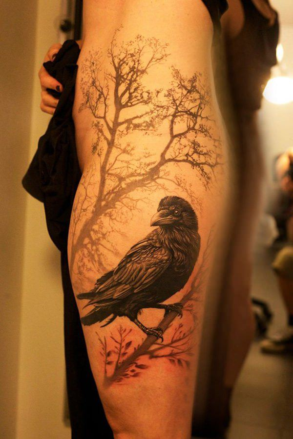 55 artistic raven tattoo designs for Raven bird tattoo