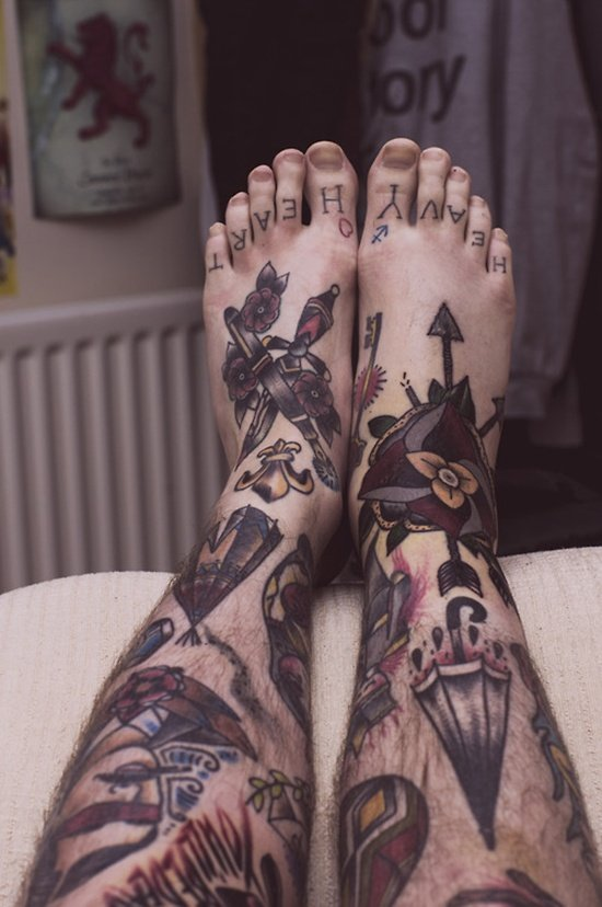 75 cool foot and flip flop tattoos for Mens foot tattoos