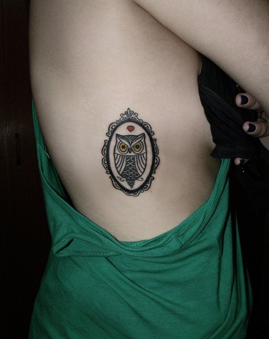 Simple Owl Tattoo Thigh
