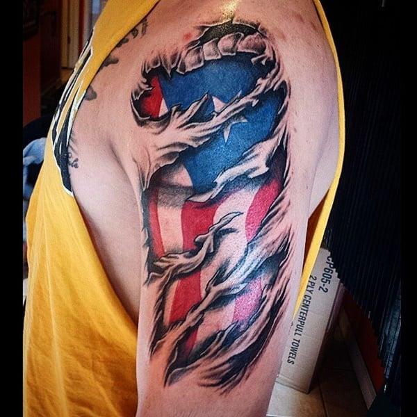 55 heroic american flag tattoos. Black Bedroom Furniture Sets. Home Design Ideas