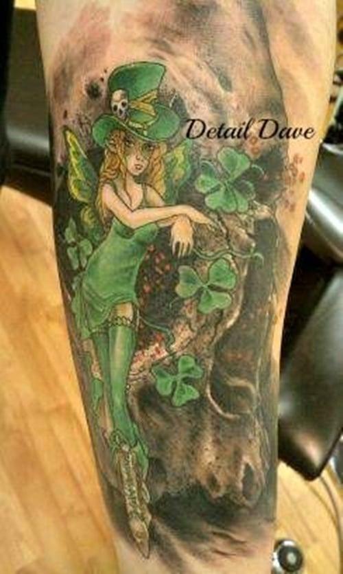 Clover, Shamrock and Leprechaun tattoo (1)