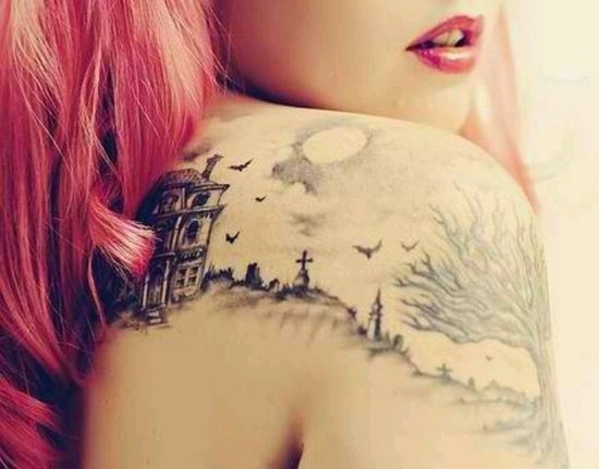 Graveyard And Cemetery Tattoos (3)