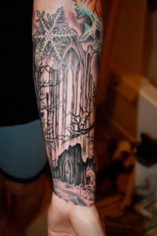 Cemetery Sleeve Tattoos Graveyard And Cemetery Tattoos