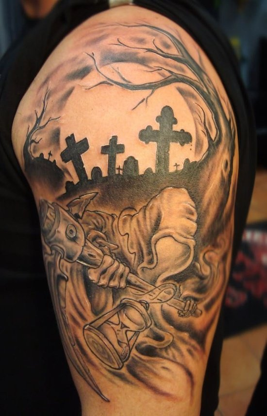 25 amazing graveyard and cemetery tattoos. Black Bedroom Furniture Sets. Home Design Ideas