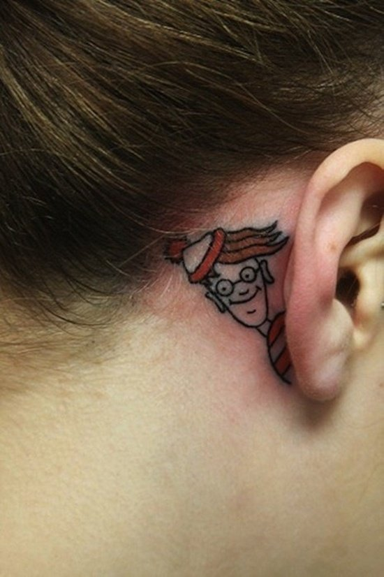 ear back tattoo (22)