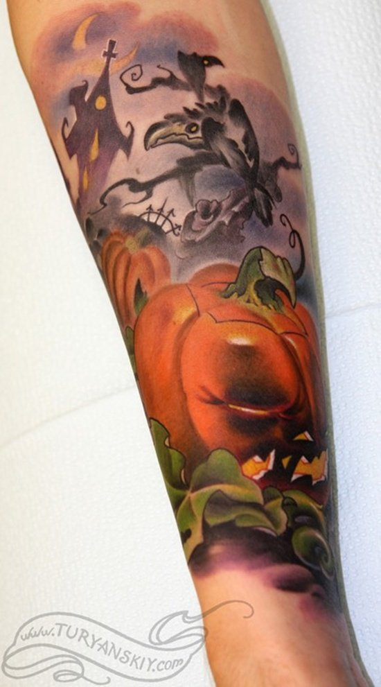 evil pumpkin tattoo (8)
