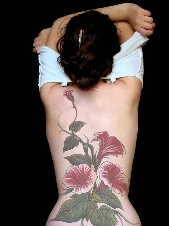 Morning Glory And Rose Tattoo