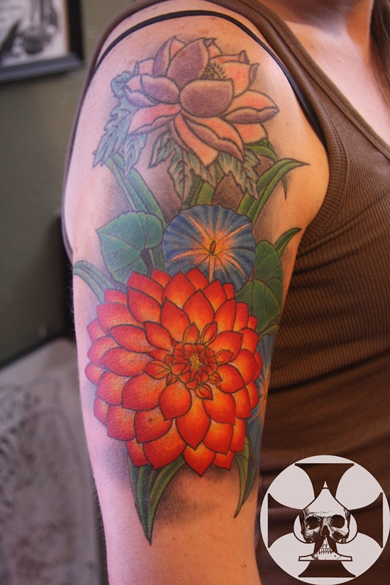 morning glory flower tattoo (12)