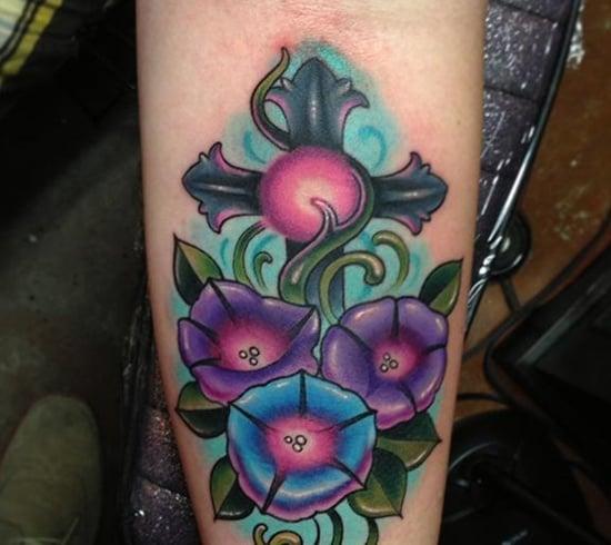 morning glory flower tattoo (21)
