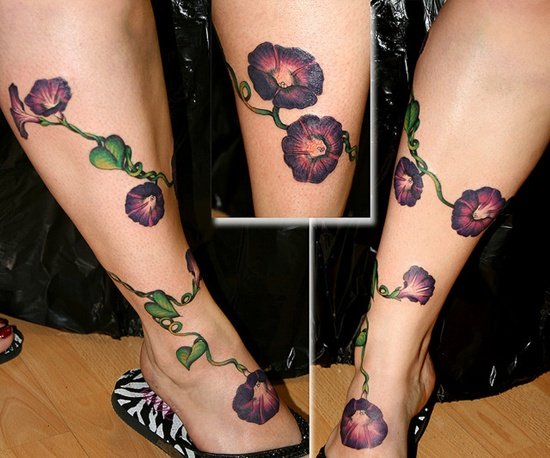 morning glory flower tattoo (24)