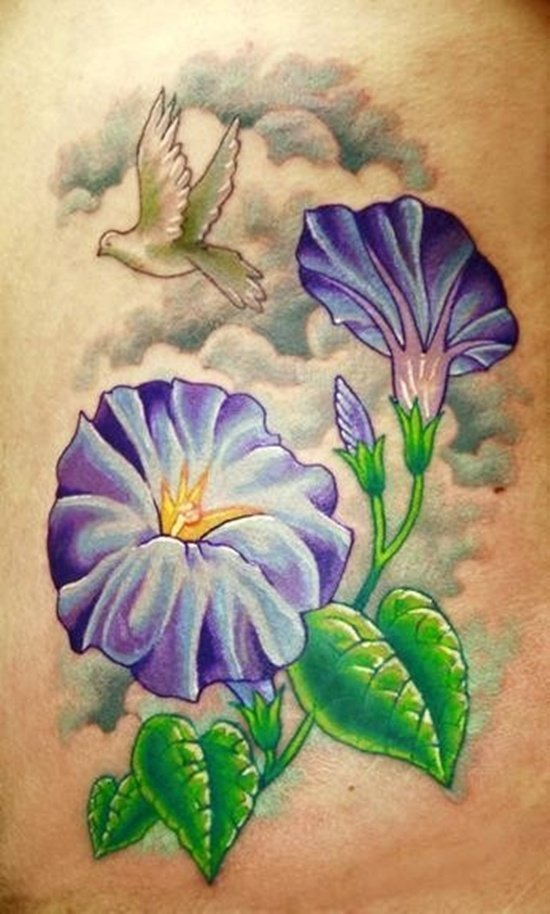 amazing morning glory tattoos for girls, Natural flower