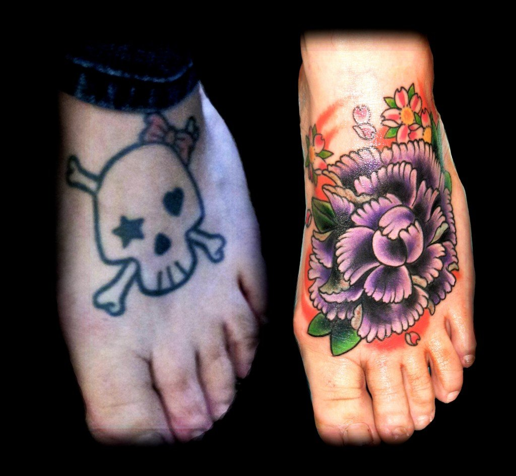Dark Cover Up Tattoo Ideas Cover - Angel coverup tattoo footcover 1024x945