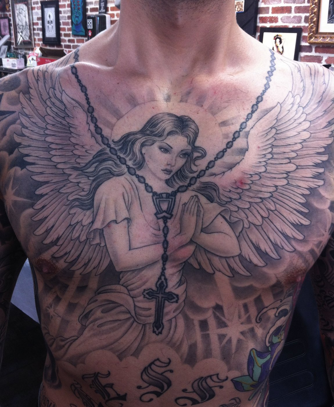 99 breathtaking angel tattoos with meaning. Black Bedroom Furniture Sets. Home Design Ideas