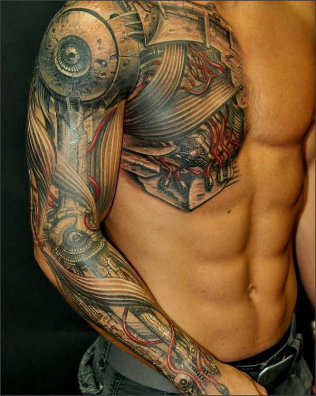 domainku.com Biomechanical-Tattoo-Covering-The-Chest-The-Shoulder-And-The-Entire