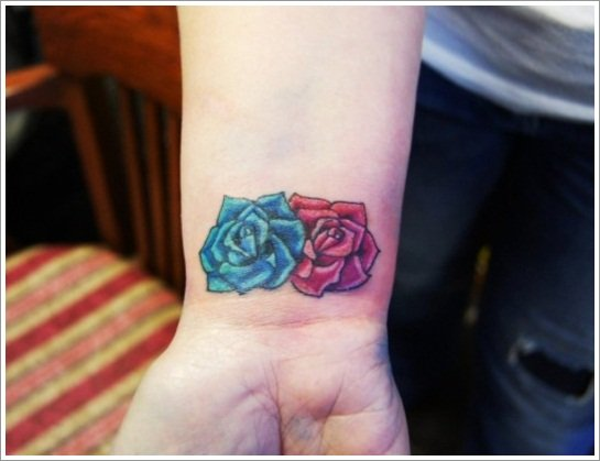 56_Wrist-Roses tattoo for girls