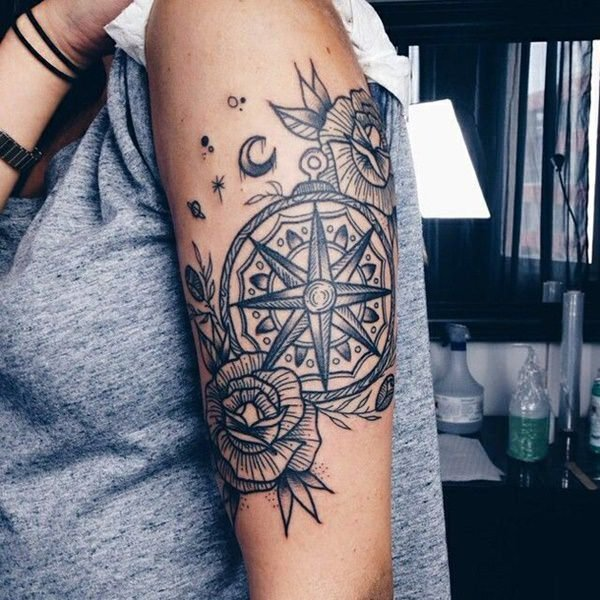 99 amazing compass tattoo designs. Black Bedroom Furniture Sets. Home Design Ideas