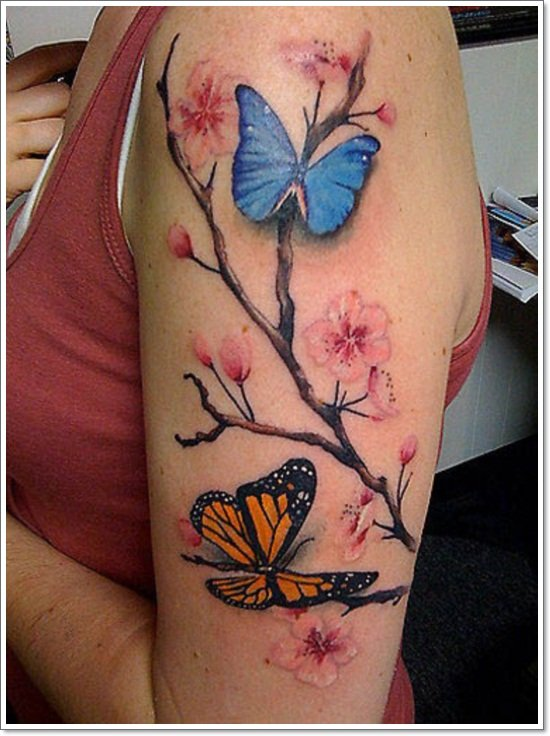 95 gorgeous butterfly tattoos the beauty and the significance for Blossom flower tattoo meaning