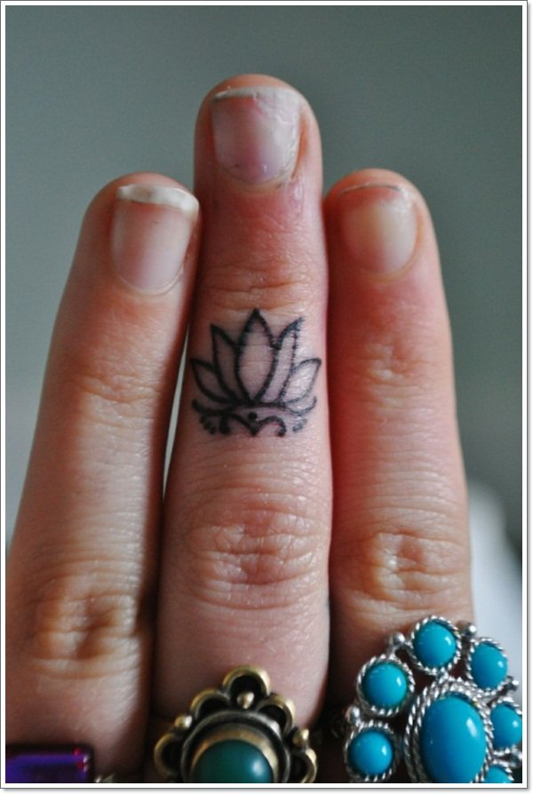 lotus flower tattoo design fingers