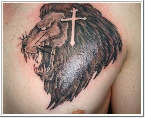 Cross-Lion-Tattoo