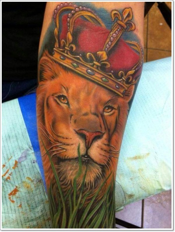 This-lion-tattoo-adds-to-the-royal-meaning-of-lions-by-including-a-jeweled-crown-in-the-design