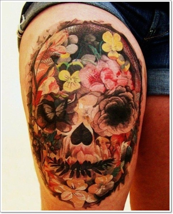 42 dramatic mexican tattoos a look into the dark world of for Candy skull tattoo