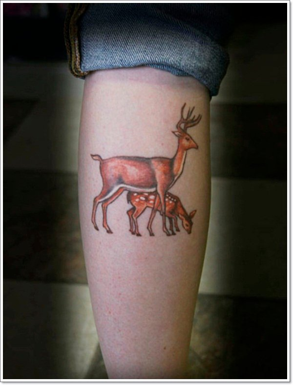 Cute-Deer-with-Mom-Tattoo-Trend