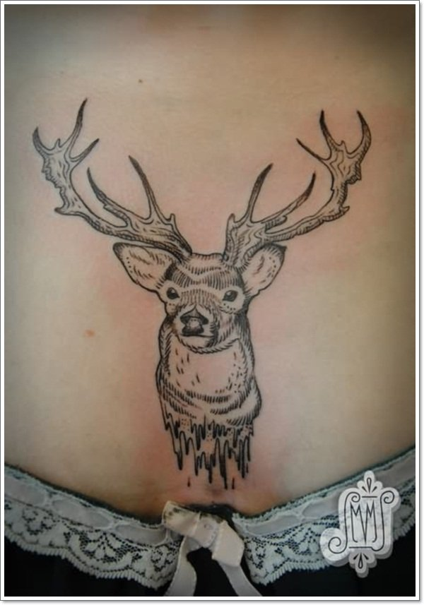 deer-tattoo-on-lower-waist