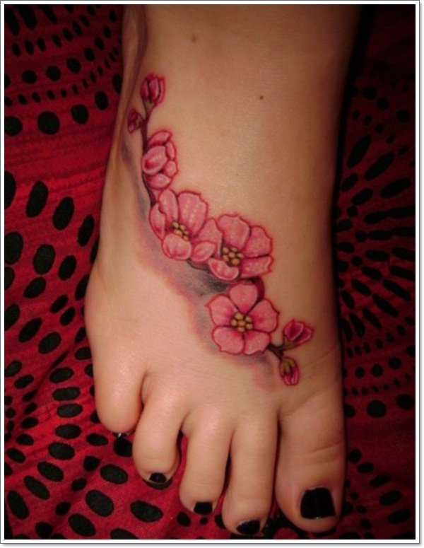 Cherry-Tattoos-Designs-Japanese-cherry-blossom-on-foot