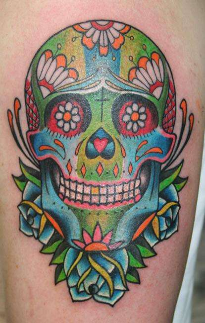 A-colorful-Day-of-the-Dead-sugarl-skull-tattoo-design-also-known-as-a-calavera-tattoo