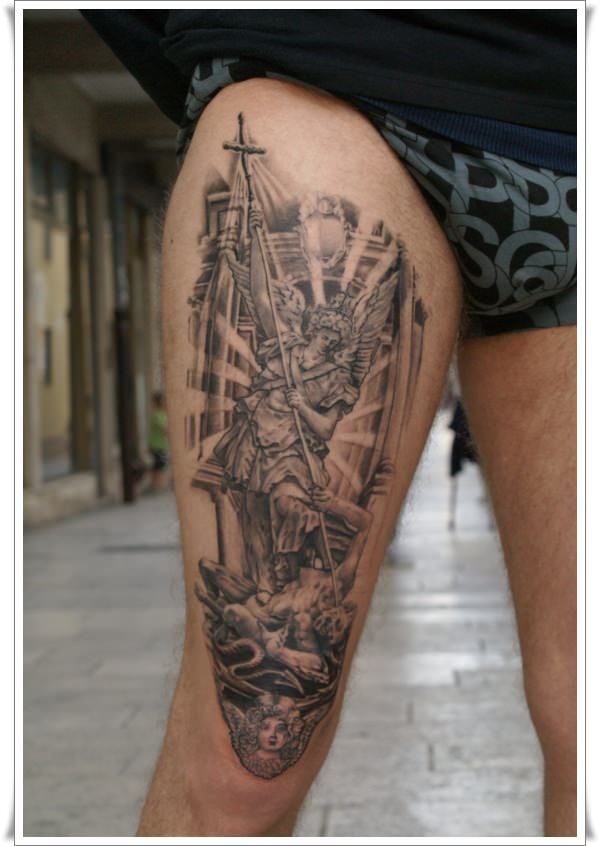 St Michael's tattoos leg