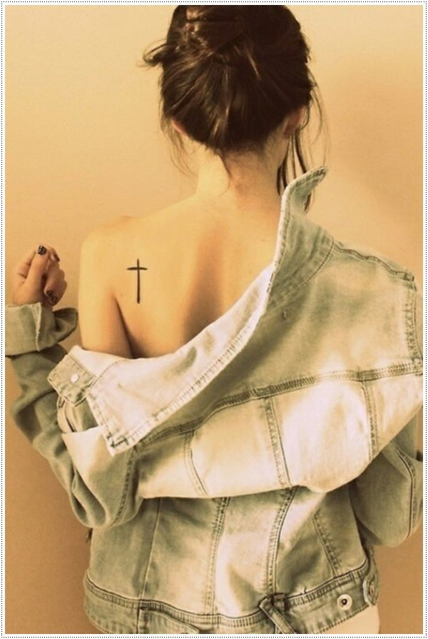 small cross tattoo for Girls