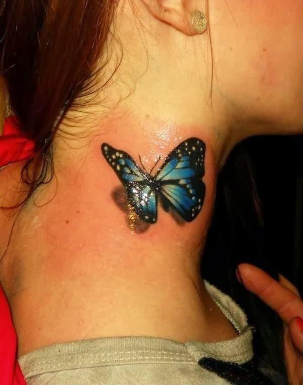 3d butterfly neck tattoo
