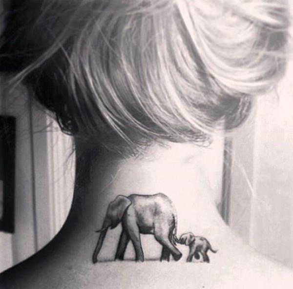 cute neck tattoo girl
