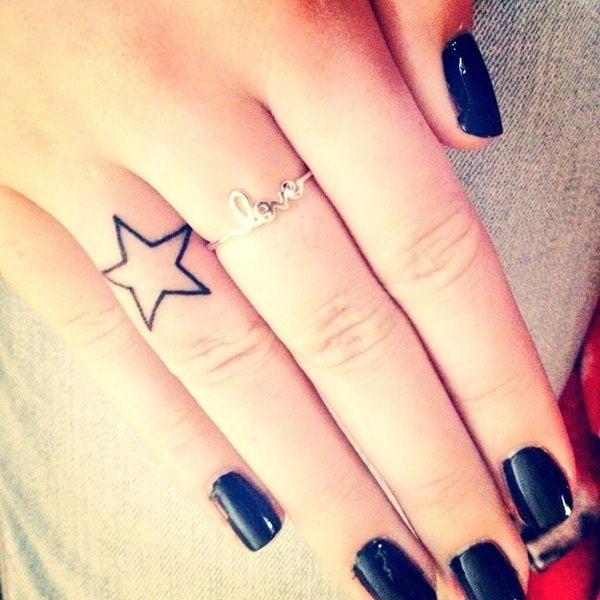 star tattoos finger