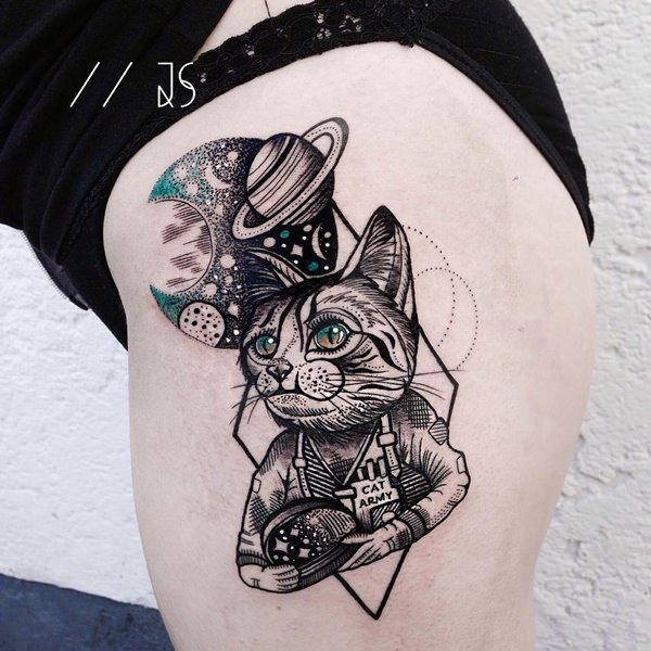 117 cat tattoos that are way too purrfect. Black Bedroom Furniture Sets. Home Design Ideas