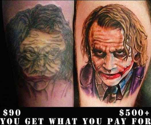 how much do tattoos cost 90 1000 quality difference
