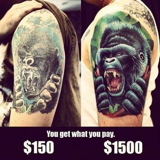 How much do tattoos cost 90 1000 quality difference for Cheap tattoo ink