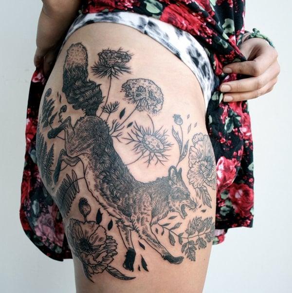 Running Fox Tattoo 45 ...