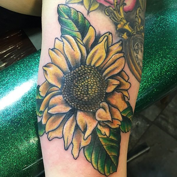 75 vibrant and inspirational sunflower tattoos for Sunflower hip tattoo