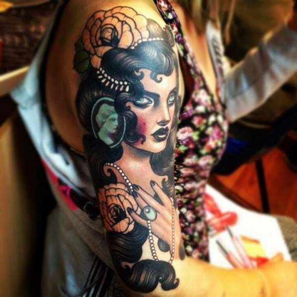 Beautiful gypsy woman tattoo