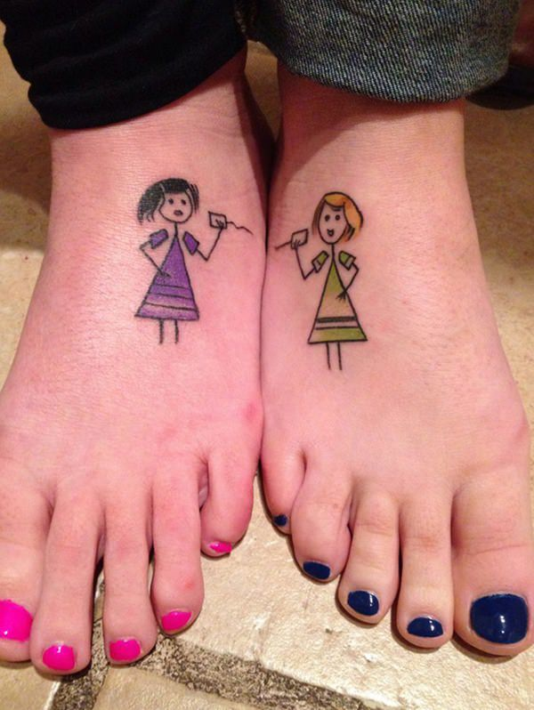 Best friend tattoos 110 super cute designs for bffs for Funny sister tattoos